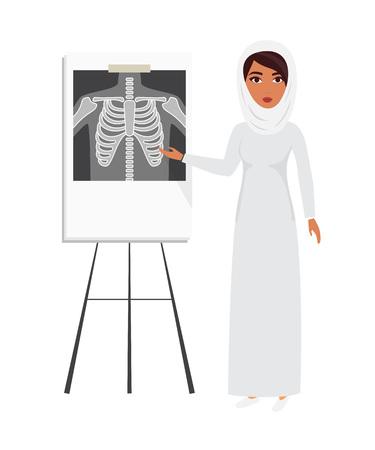 headscarf: Arab muslim doctor wearing veil hijab with x-ray film