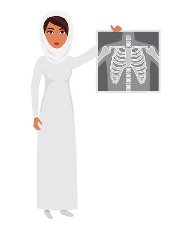 doctor exam: Arab muslim doctor wearing veil hijab with x-ray film