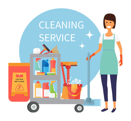 Cleaning staff, janitor with trolley. Cleaning supplies and household equipment tools. Cleaning service vector icons set