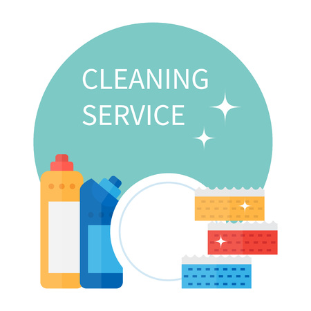 Cleaning supplies and household equipment tools. Cleaning service vector icons set