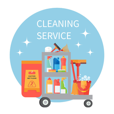 Cleaning service trolley. Cleaning supplies and household equipment tools. Cleaning vector icons set Stock Illustratie