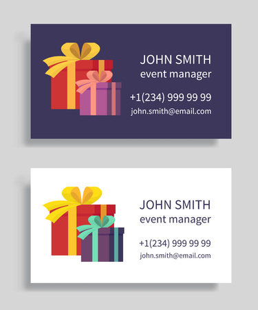 event party: Event manager business card with gift boxes. Holidays organization, party management. Vector illustration.