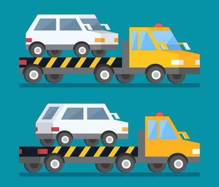 Evacuation car, road assistance service help. Evacuator tow track. Flat design illustration