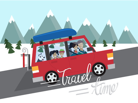 Family winter traveling. Mountain outdoor tourism. Travel by car. Flat design vector illustration Çizim