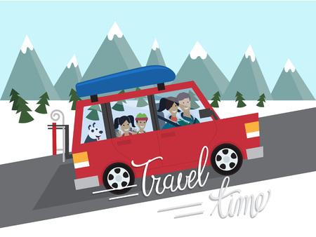 Rodzina zimą podróżuje. Górska turystyka na świeżym powietrzu. Podróżować samochodem. Płaski projektowania ilustracji wektorowych