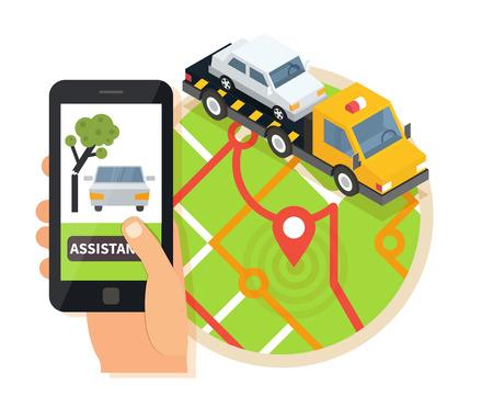 roadside assistance: Car towing truck, online roadside assistance. Car evacuator in mobile app. Flat design illustration