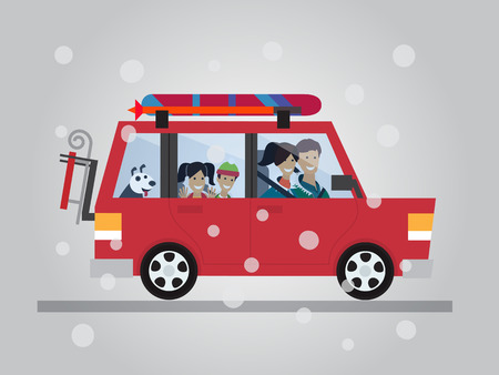 Family winter traveling. Travel by car. Flat design vector illustration Çizim