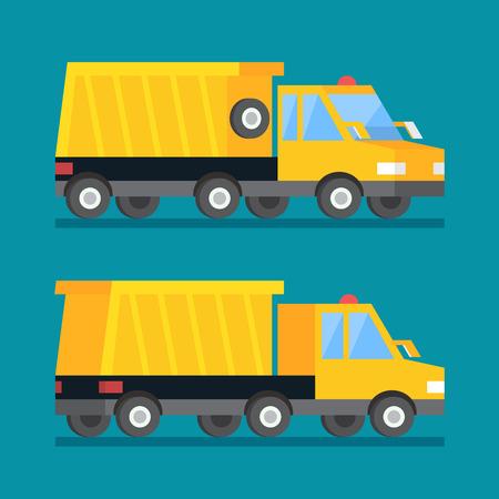 camion minero: Carro de mina amarillo. dumper construcción transporte vector icono plana.