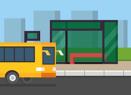 City bus stop. Public transport on the road. Flat design vector illustration