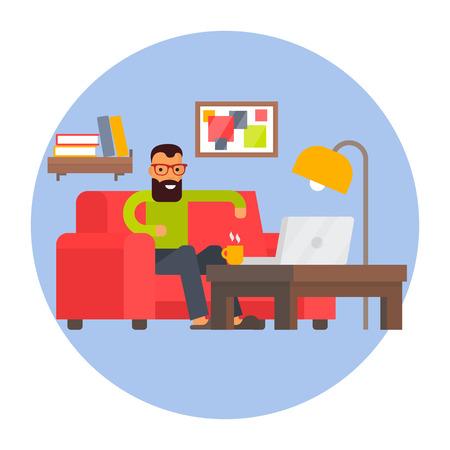Freelancer home office. Remote work. Freelance business working place. Flat design illustration.