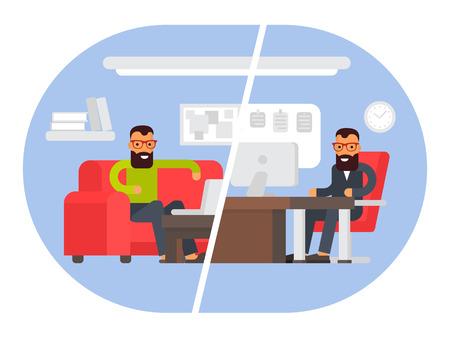 Freelancer vs impiegato commerciale. Confrontando il lavoro a distanza con il posto di lavoro freelance. Uomo d'affari al lavoro. Piatto illustrazione disegno vettoriale. Vettoriali