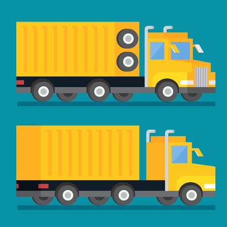 Heavy wheel shipping transport truck. Transportation delivery icon. Flat design vector illustration. Illustration