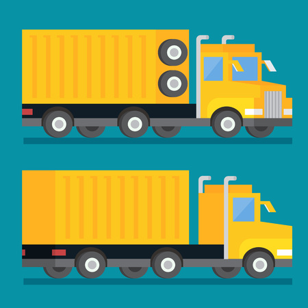 movers: Heavy wheel shipping transport truck. Transportation delivery icon. Flat design vector illustration. Illustration