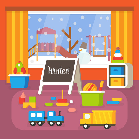 nursery room: Kindergarten classroom at winter, preschool room interior. Flat design vector illustration. Illustration