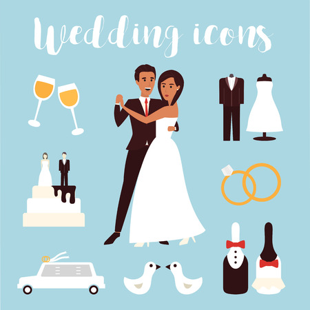 結婚式: 結婚式のアイコンを設定します。ブライダル セレモニー、車、ドレス、新郎新婦。フラットなデザインのベクトル図  イラスト・ベクター素材