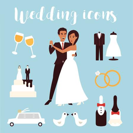 결혼식: 웨딩 아이콘을 설정합니다. 신부 의식, 자동차, 드레스와 신랑 신부. 플랫 디자인 벡터 일러스트 레이 션