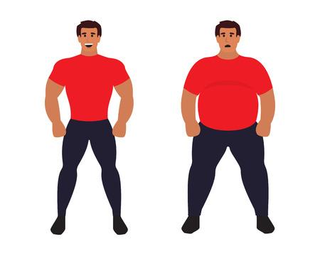 Grasa vs hombre delgado. deporte atlético cuerpo sano y grasas no saludables. ilustración vectorial plana.