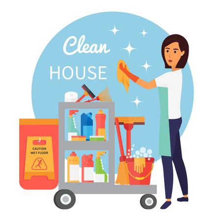Il personale di pulizia, bidello con carrello. Pulizia forniture e strumenti di tecnica domestica. le pulizie vettore impostare le icone Vettoriali