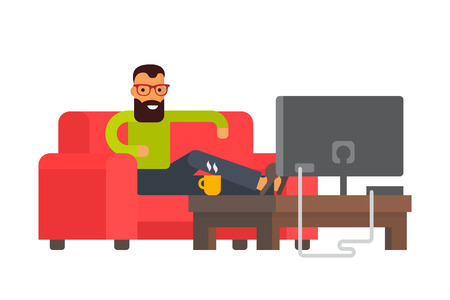 telecast: Man sitting on sofa watching tv at home. Flat design vector character illustration