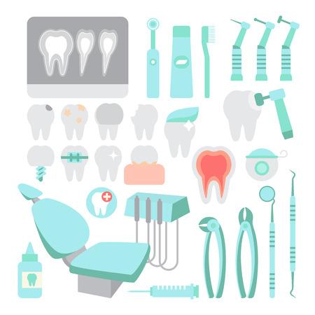 Dental care. Dentist instrument tools set. Teeth problems and dental treatment. Visit doctor. Flat design vector illustration. Illustration
