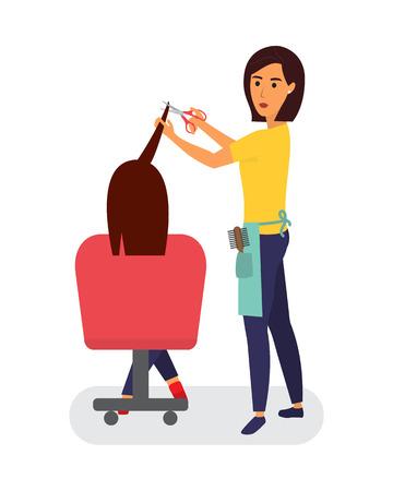 Hairdresser making haircut. Hair stylist in a barber salon. Hair care service. Flat design vector illustration