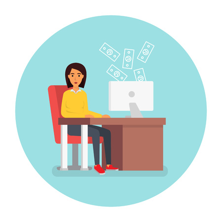 Business woman at workplace in office at computer. Payment shopping. Online credit. Flat design illustration.