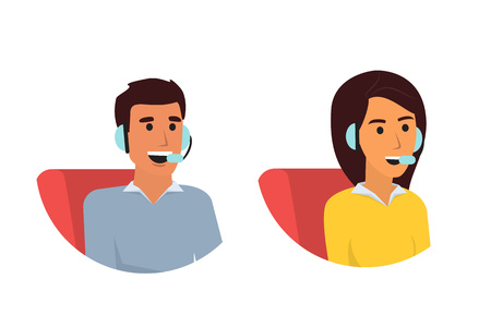 Happy smiling customer service phone operator. Call center online tech support. Flat design vector illustration Illustration