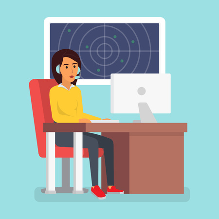 technical department: Happy smiling customer service phone operator. Call center online tech support. Flat design vector illustration Illustration
