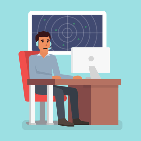 support phone operator: Emergency call center online support. Phone operator. Flat design vector illustration