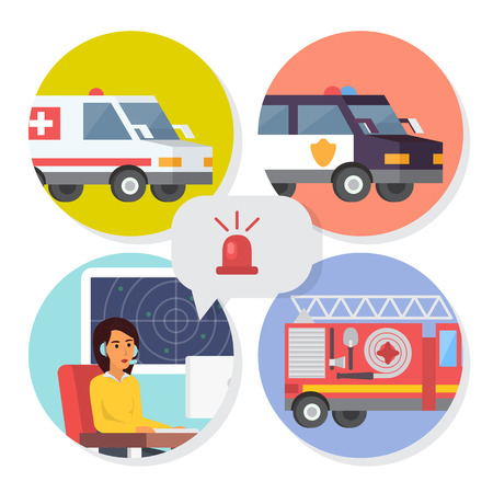Emergency call center online support. Phone operator for ambulance, fire department or police help. Flat design vector illustration