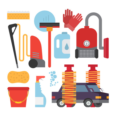 auto washing: Automatic and hand carwash facilities. Cleaning equipment car washing set. Flat vector icons.