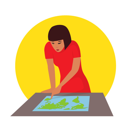 lost world: Travelling concept. Woman planning journey searching a map. Vector illustration