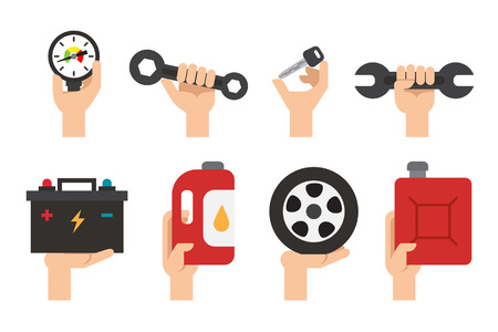 maintenance work: Car Maintenance service. Automechanic tools and equipment. Repair transport work vector set
