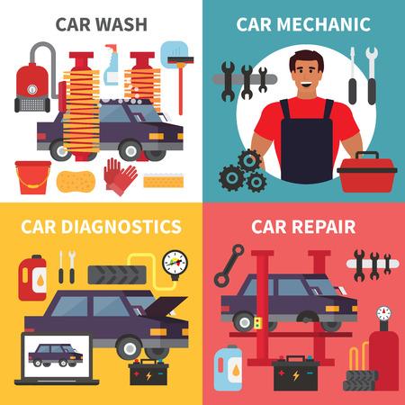 maintenance work: Car service maintenance. Auto transport diagnostics, care and mechanic repair work. Vector set