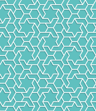 Islamic color blue turquoise pattern. Seamless vector geometric background in arabian style Vetores