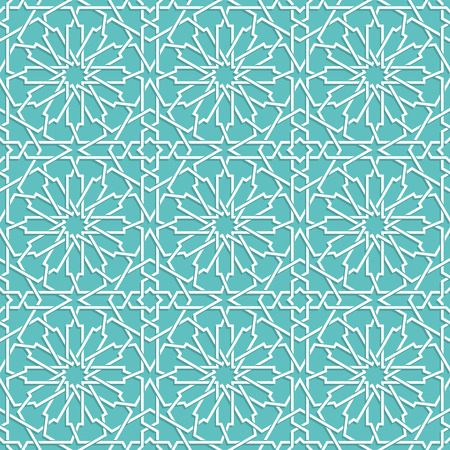 Islamic color blue turquoise pattern. geometric background in arabian style Vetores