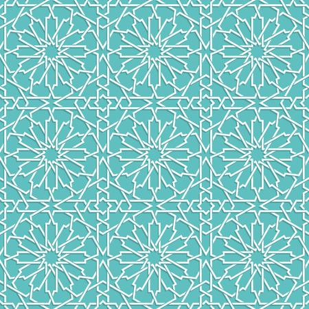 Modello islamico blu turchese. sfondo geometrico in stile arabo Vettoriali
