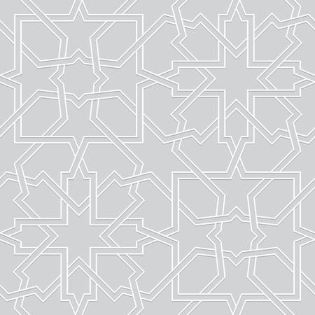 white: Islamic pattern. Interlaced seamless vector geometric white grey background in arabic style Illustration