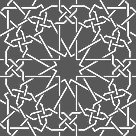 Islamic pattern. Seamless vector geometric black and white lattice background in arabic style