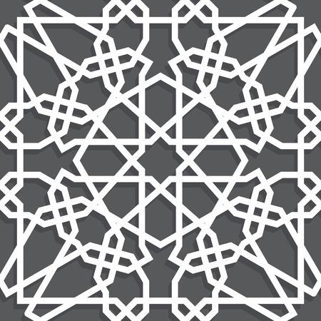 Islamic pattern. Seamless vector geometric black and white lattice background in arabic style Vector Illustration