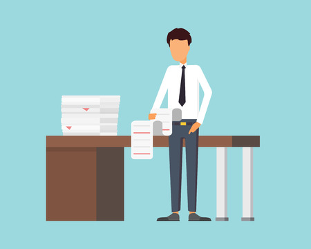 Papierarbeit im Büro. Geschäftsmann einen Bericht machen. Vektor-Illustration