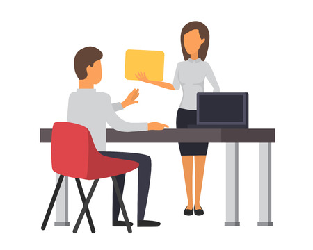 associates: Man andwoman working at office. Business office vector Illustration