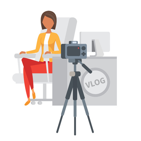 livestream: Video blogger making stream. Vlogger vector illustration