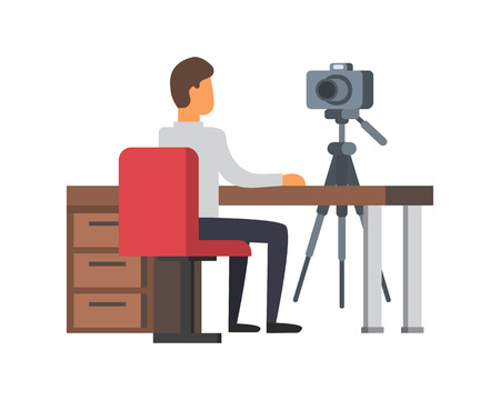 livestream: Video blogger making stream. Vlogger with camera at their workplace. Vlog vector illustration