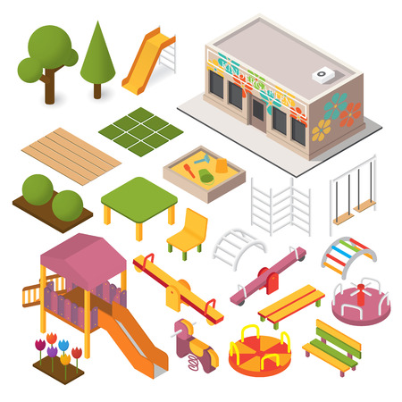 Vector isometric kindergarten preschool. Kids playground. 3d building icon set