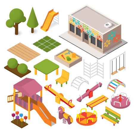 Vector isometrische kleuterschool kleuterschool. Kinderspeelplaats. 3D-gebouw pictogramserie