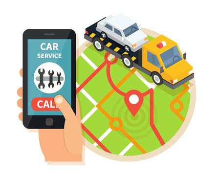 Evacuation service. Car assistance vector