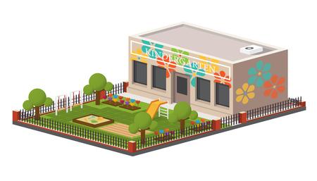 Laag poly kindertuin gebouw. Stock Illustratie