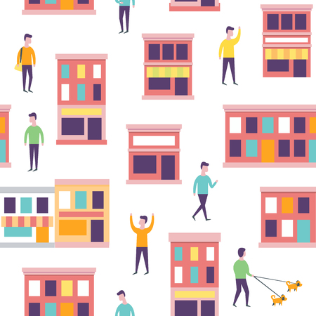 Seamless city pattern. Vector urban buildings and people Illustration