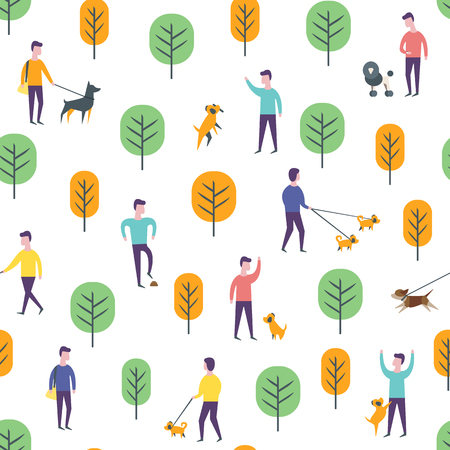 Seamless park pattern. Vector dog walking people